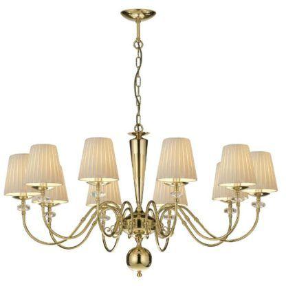 duży złoty żyrandol do salonu