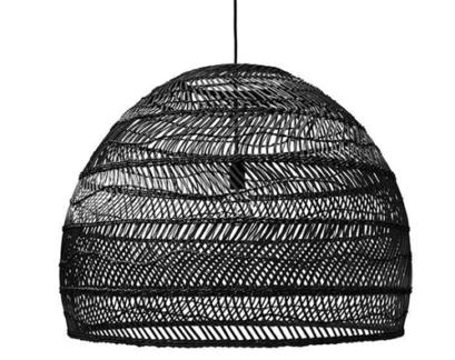 Lampa wisząca w stylu boho Cezar Monnarita - rattan, czarna