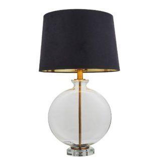 Szklana lampa stołowa Gideon - atłasowy abażur