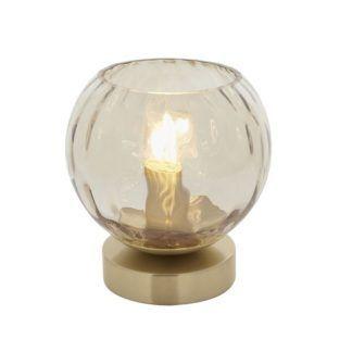 lampa stołowa Dimple - szampański klosz, złota podstawa