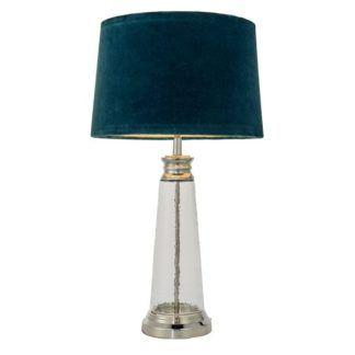Szklana lampa stołowa Winslet - atłasowy abażur