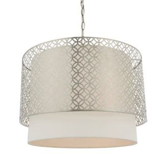 Duża lampa wisząca Gilli - srebrna oprawa, biały abażur