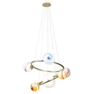 Lampa wisząca Kosmos - złota oprawa, szklane klosze