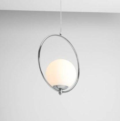 lampa wisząca szklana kula srebrna