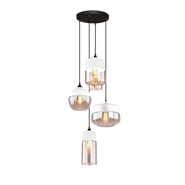 lampa wisząca ze szklanymi kloszami na czarnej podsufitce