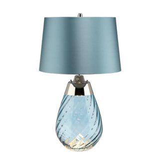 Szklana lampa stołowa Lena - niebieska, mała, Dual-Lit