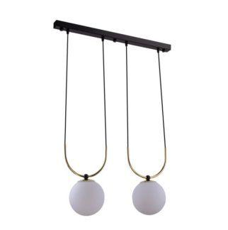 Lampa wisząca Balos - dwa szklane klosze, czarna