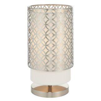 Lampa stołowa Gilli - srebrny klosz, biały abażur