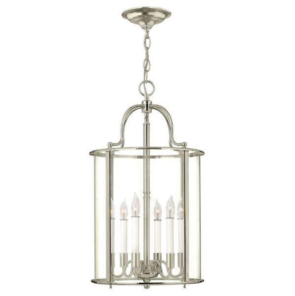 srebrna lampa wisząca duża latarnia