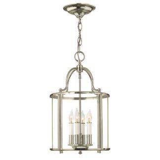 Klasyczna lampa wisząca Gentry, srebrny klosz