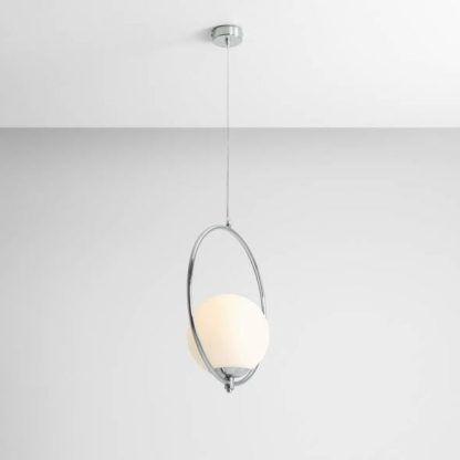 srebrna lampa wisząca okrąg