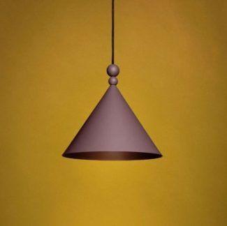 Lampa wisząca Konko - stożek, bakłażanowy kolor, 30cm
