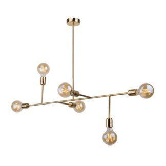 Złota lampa wisząca Dadim - geometryczna