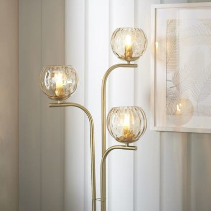 złota lampa podłogowa 3 szklane klosze