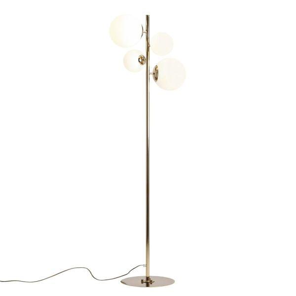 złota lampa podłogowa szklane klosze