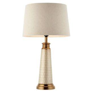 Klasyczna lampa stołowa Vivian - perłowa podstawa