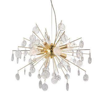 Lampa wisząca Calla -złota, szklane wisiorki