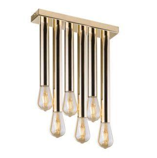 Lampa sufitowa Lagos - złote tuby, 6-punktowa