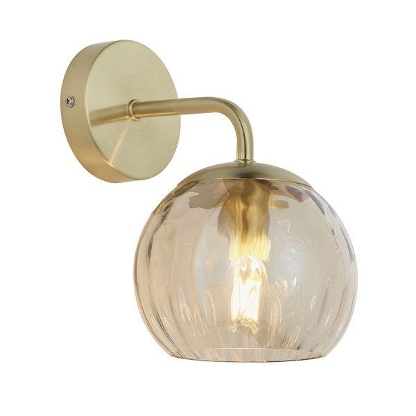 złoty kinkiet ze szklanym kloszem aranżacja