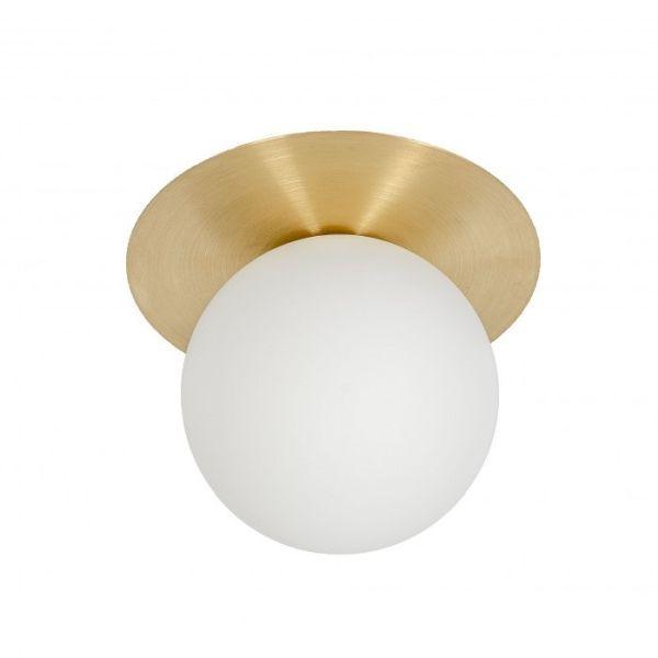 złoty kinkiet ze szklanym kloszem