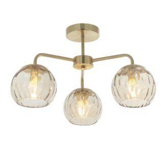 Żyrandol sufitowy Dimple - złoty, 3 szklane klosze