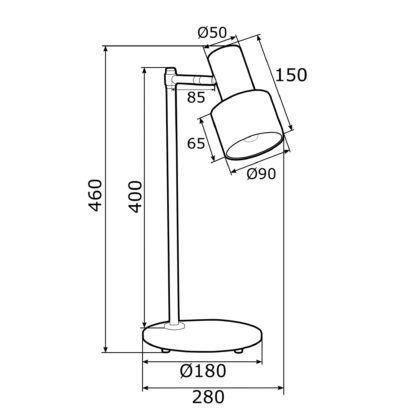 Nowoczesna lampa biurkowa Doria  - regulowany klosz, szałwia