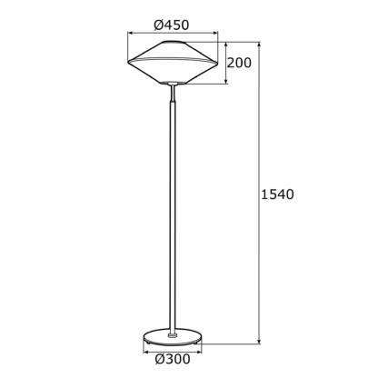 Wysoka lampa podłogowa Troy - beżowy abażur, czarna podstawa
