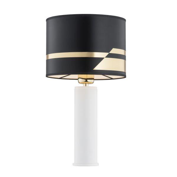 Biała lampa stołowa Almada - czarno-złoty abażur