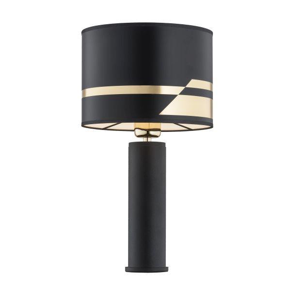 Czarna lampa stołowa Almada - złote detale