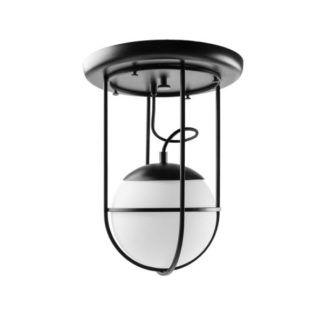 Lampa sufitowa Anga A - szklany klosz, czarna oprawa
