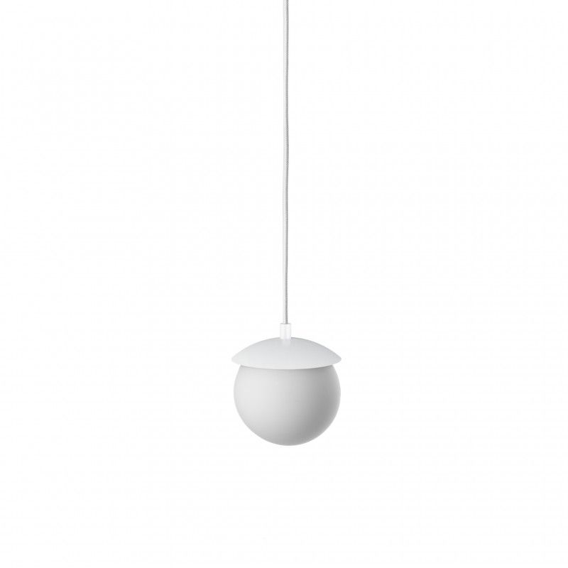 biała lampa wisząca szklany klosz