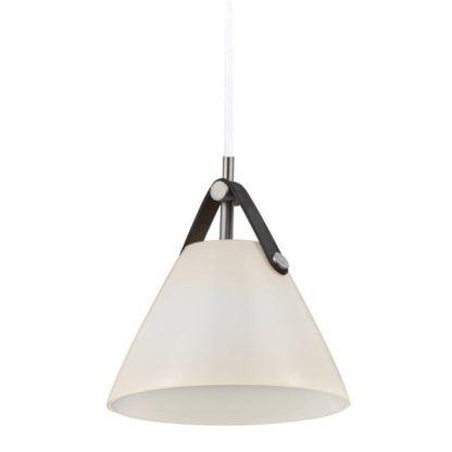 biała lampa wisząca szklany stożek