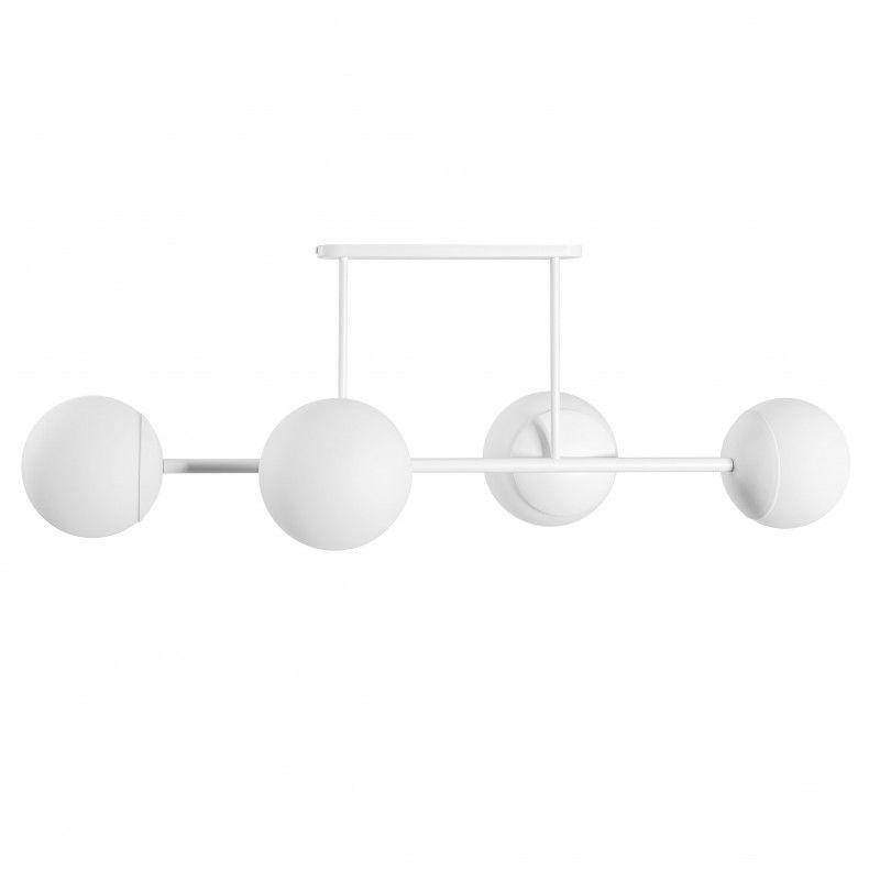 Podłużna lampa sufitowa Kop D - szklane klosze, biała