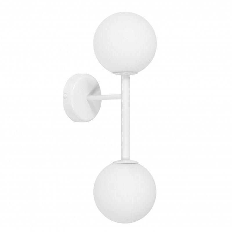 Biały kinkiet Kop A - 2 klosze, szklane kule