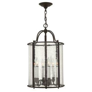 Klasyczna lampa wisząca Gentry - duży, szklany klosz, brązowa