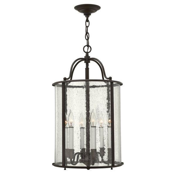 brązowa lampa wisząca szklany lampion