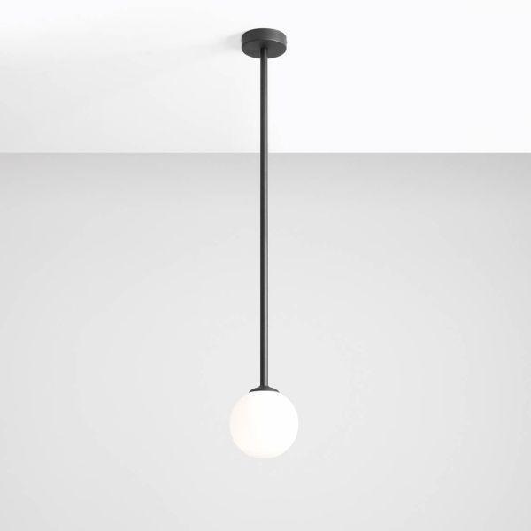czarna lampa długa z białym kloszem