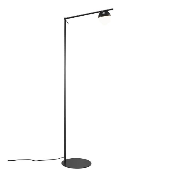 Czarna lampa podłogowa Contina - szklany klosz
