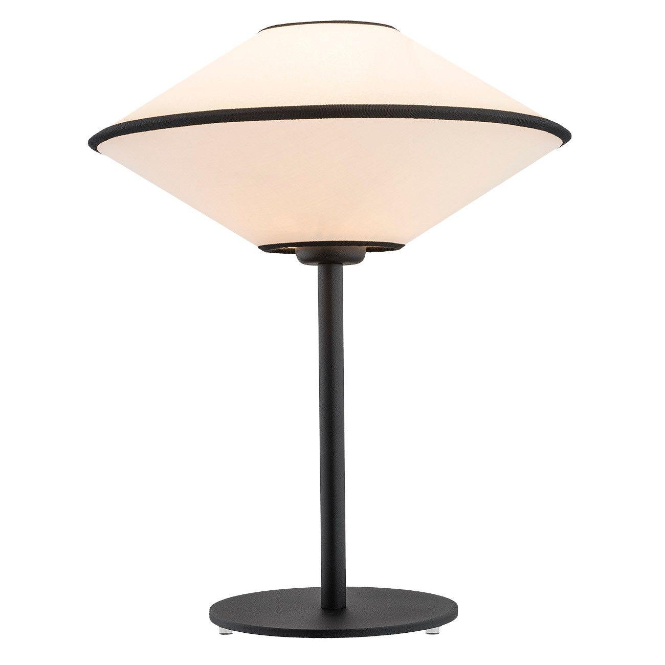 Czarna lampa stołowa Troy - beżowy abażur