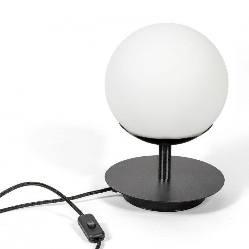 Czarna lampa stołowa Plaat - szklana kula