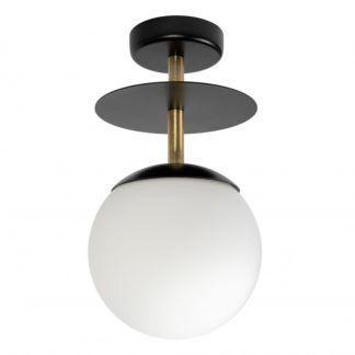Czarna lampa sufitowa Plaat B - szklany klosz, złote detale