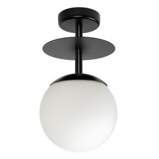 Czarna lampa sufitowa Plaat B - szklany klosz