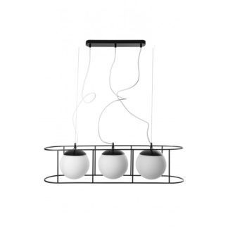 Lampa wisząca Kuglo - szklane klosze, czarna oprawa