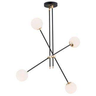 Czarna lampa wisząca Abstract - szklane klosze, złote łączenia