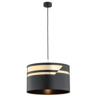 Elegancka lampa wisząca Metis - czarno-złoty abażur
