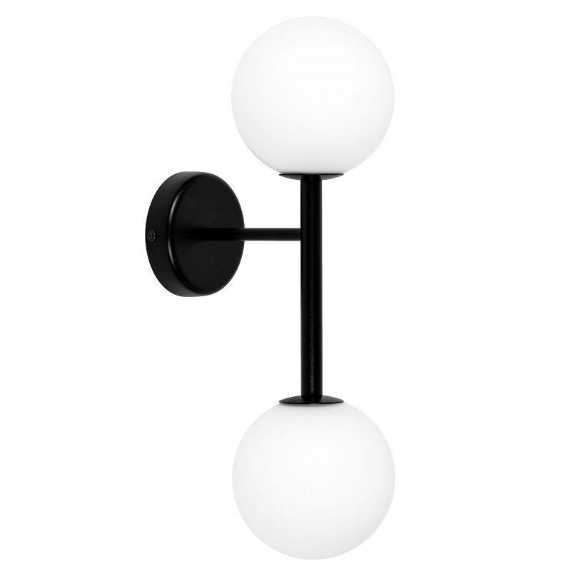 czarno-biały kinkiet na dwa klosze