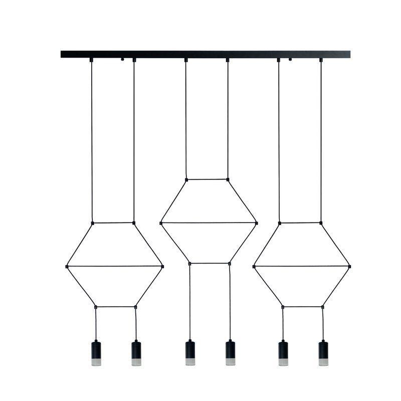 lampa wisząca z czarnych linek nowoczesna