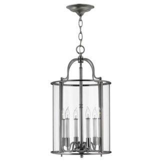 Klasyczna lampa wisząca Gentry - duży klosz, srebrna