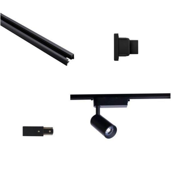 Gotowy system szynowy Profile - czarny, 3 reflektory Iris