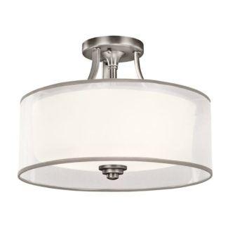 Lampa sufitowa Lacey - srebrna, mleczny klosz